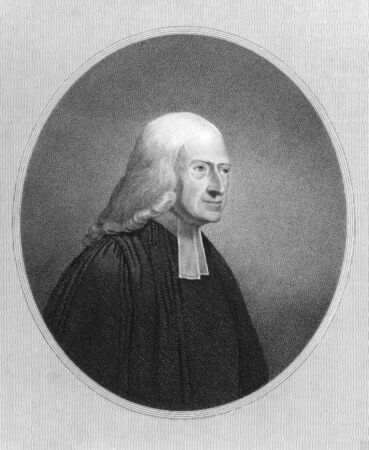 theologian: John Wesley (1703-1791) on engraving from the 1800s. Anglican cleric and Christian theologian. Engraved by J.Pofselwhite and published in London by Charles Knight, Ludgate Street.