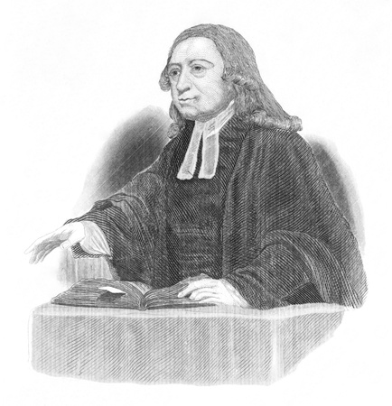 theologian: John Wesley (1703-1791) preaching over an open bible on engraving from the 1800s. Anglican cleric and Christian theologian. Engraved after original artwork by J.Jackson.
