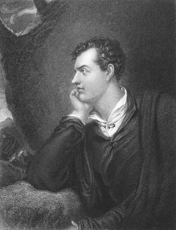 byron: Lord Byron (1788-1824) on engraving from the 1800s. One of the greatest British poets and leading figures in the Greek war of independence against the Ottoman Empire. Engraved by H. Robinson from a painting by R. Westall, published in London by Fisher, so