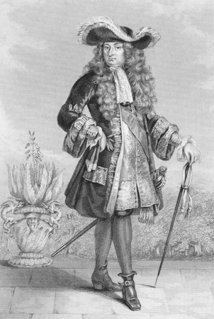 Louis XIV of France (1638 -1715) on engraving from 1886. King of France from 1643 to 1715. Engraved by J.Cook and published in London by Richard Bentley & Son in 1886.