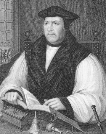 archbishop: Matthew Parker (1504-1575) on engraving from the 1800s. Archbishop of Canterbury during 1559-1575. Engraved by W.Holl and published by the London Printing and Publishing Company.