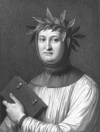 Francesco Petrarca aka Petrarch (1304-1374) auf Stich aus den 1800er Jahren. Italienischer Gelehrter, Dichter und einer der fr�hesten Renaissance Humanisten. Radierung von R.Hart aus einem Druck von R.Morghen nach ein Bild von Jofanelliand in London von Charles Knigh ver�ffentlicht