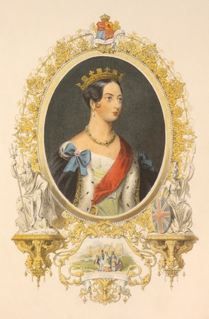 queen victoria: Queen Victoria (1819-1901) on hand colored engraving from the 1800s. Queen of Great Britain during 1837-1901.