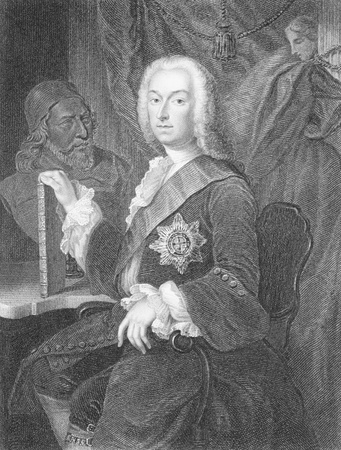 Richard Boyle, 3rd Earl of Burlington (1694-1753) on engraving from the 1800s. The Apollo of the Arts. Engraved by H.T.Mote and published by the London Printing and Publishing Company.