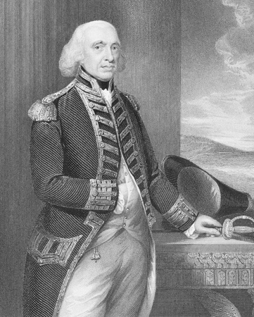 richard: Richard Howe, 1st Earl Howe (1726-1799) on engraving from the 1800s. British naval officer, notable for his service during the American War of Independence and French Revolutionary Wars. Engraved by H.Robinson and published by J.Tallis.