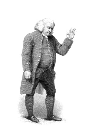 essayist: Samuel Johnson (1709-1784) on engraving from the 1800s. English author who made lasting contributions to English literature as a poet, essayist, moralist, literary critic, biographer, editor and lexicographer. From a painting in the possesion of Archdeaco