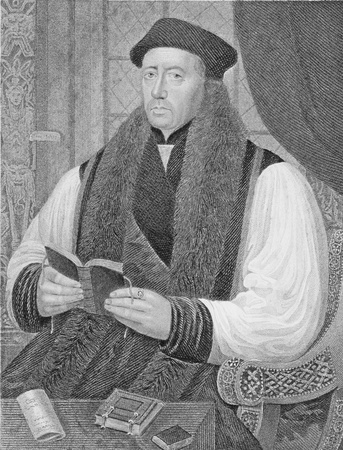 thomas: Thomas Cranmer (1489-1556) on engraving from the 1800s. Leader of the English Reformation and Archbishop of Canterbury. Engraved by J.Cochran and published by the London Printing and Publishing Company. Editorial