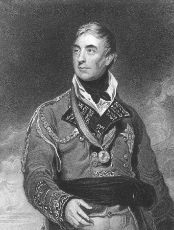 unifrom: Thomas Graham, 1st Baron Lynedoch (1748-1843) on engraving from the 1800s. Scottish aristocrat, politician and British Army officer. Engraved by H.Meyer after a painting by T.Lawrence and published in London by Fisher, Son & Co.