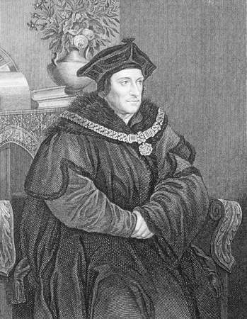 recognised: Thomas More (1478-1535) on engraving from the 1800s. English lawyer, social philosopher, author and statesman. He is recognised as a saint within the Catholic Church. Engraved by H.T.Ryall and published by the London Printing and Publishing Company.