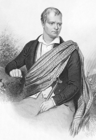 scott: Walter Scott (1771-1832) on engraving from the 1800s. Scottish historical novelist and poet. Engraved by A.H. Payne and published in Leipzig. Editorial