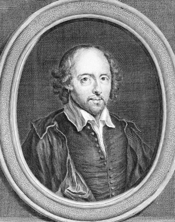 literatures: William Shakespeare (1564-1616) on engraving from the 1700s. English poet and playwright, widely regarded as the greatest writer in the English language. Drawn by B.Arlaud and engraved by G. Duchange.