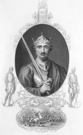 conqueror: William the Conqueror (1027-1087) on engraving from the 1800s. King of England during 1066-1087. Published in London by Viture & Co.