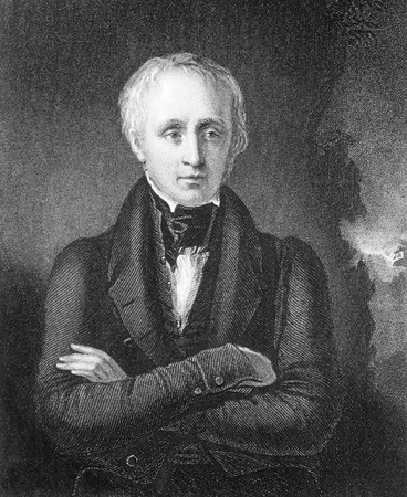 William Wordsworth (1770-1850) on engraving from the 1800s. Important English Romantic poet. Engraved by J.Cochran after a painting by W.Boxall and published by Fisher, Son & Co, London in 1846. Editorial