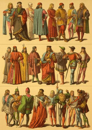 15th century: 15th Century Italian Costumes on engraving from 1890 by Fr.Hottenroth. Stock Photo