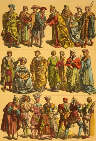 16th century: 16th Century Netherlands Costumes on engraving from 1890 by Fr.Hottenroth.