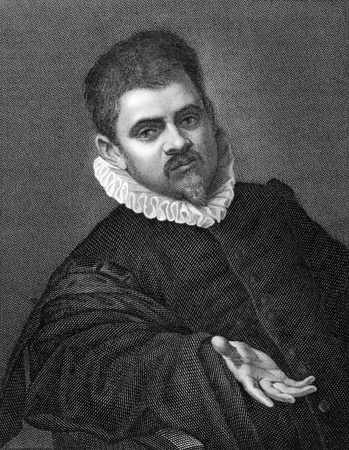 printmaker: Agostino Carracci (or Caracci) (1557-1602) on copper engraving from 1841. Italian painter and printmaker. Engraved by G.Rivera from a drawing by G.Marrubini after a self portait by Carracci.