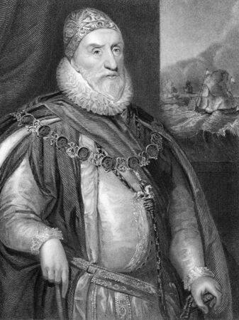 statesman: Charles Howard, 1st Earl of Nottingham (1536-1624) on engraving from 1838. English statesman and Lord High Admiral under Elizabeth I and James I. Also known as Howard of Effingham. Engraved by H.Robinson and publised by J.F.Tallis, London & New York.