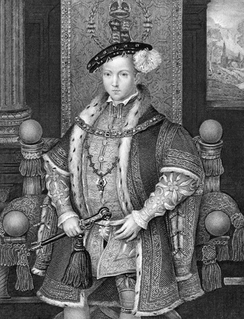 king edward: Edward VI (1537-1553) on engraving from 1840. King of England and Ireland during 1547-1553. Engraved by H.T.Ryall after a painting by Holbein and published by the London Printing and Publishing Company. Editorial