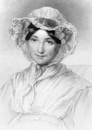 novelist: Frances Milton Trollope (1779-1863) on engraving from 1835. English novelist and writer. Engraved by W.Holl after a drawing by I.Adams and published by Fisher, Son & Co London.