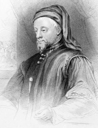 Geoffrey Chaucer (1343-1400) en grabado de 1838. Escritora, poeta, fil�sofo, bur�crata, cortesano y diplom�tico. Publicado por G.Virtue en Londres. Foto de archivo - 9247112