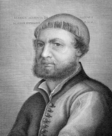 printmaker: Hans Holbein the Younger (1497-1543) on copper engraving from 1841. German artist and printmaker.  Engraved by Toschi from a drawing by A.Nizza after a self protrait by Holbein.