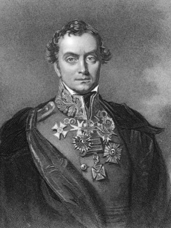 unifrom: Henry Hardinge, 1st Viscount Hardinge, GCB, PC (1785-1856)  on engraving from 1820. British field marshal and Governor-general of India. Engraved by F. Holl after Eddis. Editorial