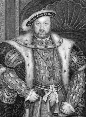 henry: Henry VIII (1491-1547) on engraving from 1838. King of England during 1509-1547. Engraved by W.T.Fry after a painting by Holbein.