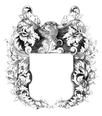 Heraldic crest on engraving from the 1700s. Standard-Bild