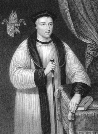 hugh: Hugh Oldham (1452-1519) on engraving from the 1800s.  Bishop of Exeter and a notable patron of education. Engraved by W.Holl and published by Fisher, Son & Co, London in 1835.