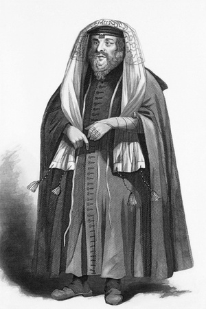 Jewish rabbi dressed for prayers on engraving from 1858. Engraved by R.Young and published by A.Fullarton & Co, London & Edinburgh.
