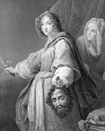 Judith with the Head of Holofernes on engraving from 1846. Engraved by J.Carter after a painting by Allori.