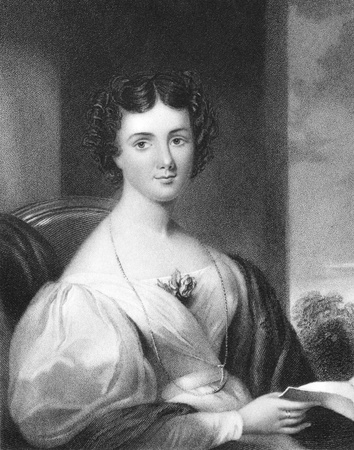 essayist: Mrs Fletcher late Maria Jane Jewsbury (1800-1833) on engraving from 1838. English essayist. Engraved by J.Cochran after a painting by G.Freeman and published by Fisher, Son & Co, London & Paris. Editorial