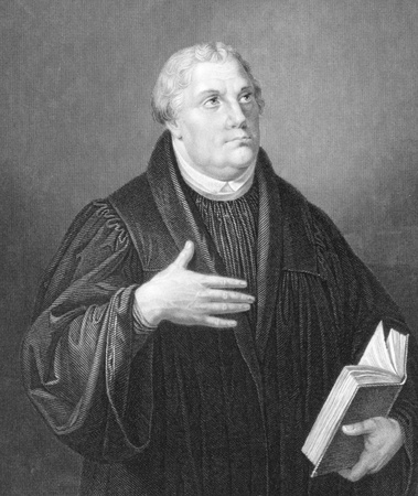 Martin Luther (1483-1546) on engraving from the 1800s. Priest and theology professor. Leader of the great religious revolt of the 16th century in Germany. Engraved by W & F. Holl from a painting by Lucas Cranach and published in London by Blackie & Son. Editorial