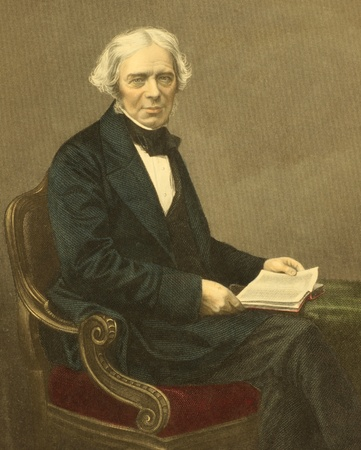 Michael Faraday (1791-1867) on engraving from the 1800s. English chemist and physicist who contributed to the fields of electromagnetism and electrochemistry. Engraved by D.J.Pound from a picture by Mayall. Editorial
