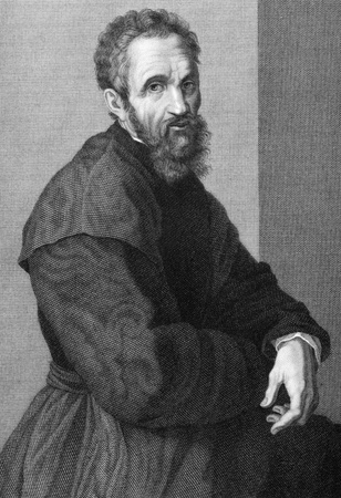sculptor: Michelangelo (1475-1564) on copper engraving from 1841. Italian Renaissance painter, sculptor, architect, poet and engineer. Engraved by G.P.Lorenzi from a drawing by A.Tricca after a self portrait by Michelangelo.