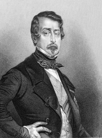 Napoleon III aka Louis Napoleon Bonaparte (1808-1873) on engraving from 1850. President of the French Second Republic and ruler of the Second French Empire. Nephew of Napoleon I. Engraved by Jekins after a picture by Maurin and published by P.Jackson, Lon Stock Photo - 9247159