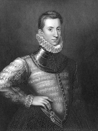 sidney: Sir Philip Sidney (1554-1586) on engraving from 1838. English poet, courtier and soldier. One of the most prominent figures of the Elizabethan Age. Engraved by H.Robinson and publised by J.F.Tallis, London & New York.
