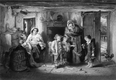 begs: Poor orphan boy begs at cottage door on engraving from 1866. Engraved by P.Lightfoot after a painting by T.Faed.