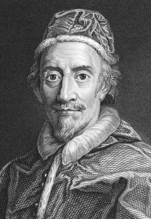 Pope Clement IX (1600-1669) on engraving from the 1800s. Born Giulio Rospigliosi, was Pope during 1667-1669. Engraved by J.Wedgwood from a painting by Carlo Maratti and published in 1821 for the Proprietor, London. Stock Photo - 9247128
