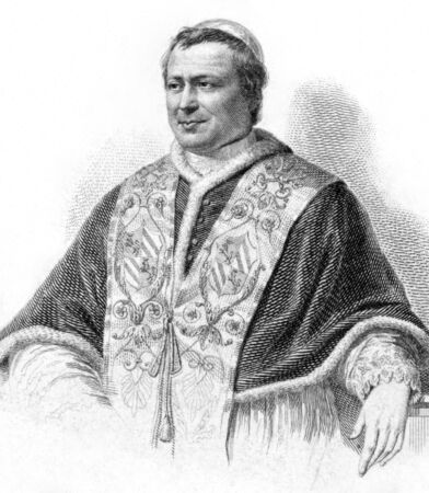 reigning: Pope Pius IX (1792-1878) on engraving from the 1800s. Born Giovanni Maria Mastai-Ferretti, was the longest reigning elected Pope in Church history during 1846-1878. Engraved after a painting by G.Vitta.