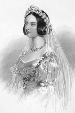 Queen Victoria (1819-1901) on engraving from 1840. Queen of Great Britain during 1837-1901. Engraved by W.H.Mote after a drawning by W.Drummond and publised by J.F.Tallis, London & New York.