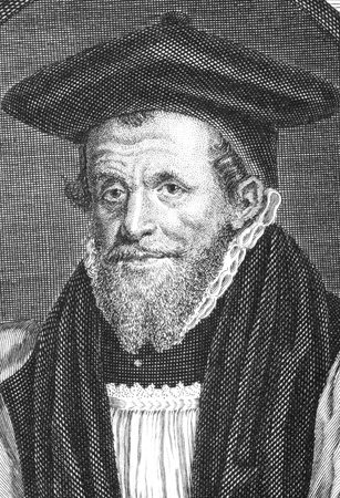overseer: Richard Bancroft (1544-1610) on engraving from the 1700s. Archbishop of Canterbury and chief overseer of production of the authorized version of the Bible. Engraved by G.Vertue.