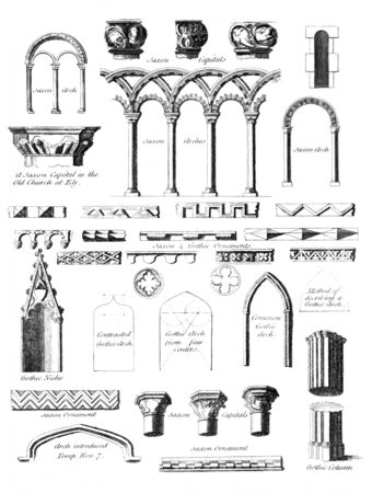 Saxon and Gothic Architecture on engraving from 1775. Stock Photo - 9247068