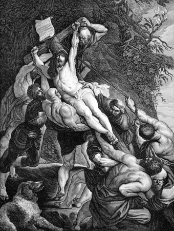 The Crucifixion of Jesus on engraving from 1840. Drawn by F.Felsing after a painting by Rubens and engraved by J.Klaus.