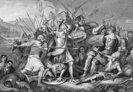 against the war: Battle of Agincourt in 1415 on engraving from the 1800s. Major English victory against a numerically superior French army in the Hundred Years War. Engraved by J.Rogers after a painting by J.H.Mortimer and published by J.& F.Tallis.