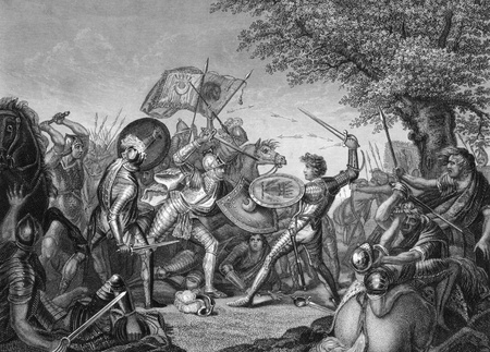Battle of Humbleton Hill on engraving from the 1800s. Conflict between the English and Scottish in 1402. Engraved after a painting by J.Graham and published by J.& F.Tallis.