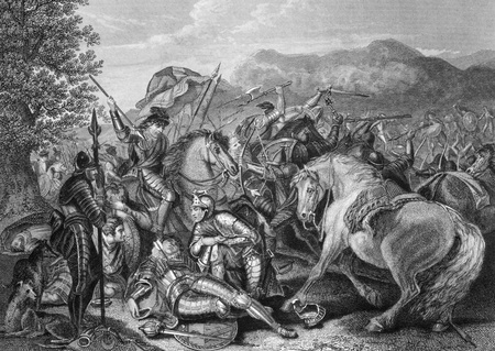 Battle of Otterburn between the Scottish and English in 1388 on engraving from the 1800s. Engraved by J.Rogers after a painting by J.H.Mortimer and published by J.& F.Tallis. Stock Photo - 9488750