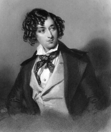 Benjamin Disraeli, 1st Earl of Beaconsfield  (1804-1881) on engraving from 1839. British Prime Minister, parliamentarian, Conservative statesman and literary figure. Engraved by H.Robinson after a painting by A.E.Chalon and published by Virtue & Co. Stock Photo - 9488566