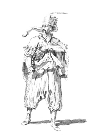 corporal: Costume of a Hungarian corporal of the narasdin pandours in 1742 on engraving from the 1700s. Editorial