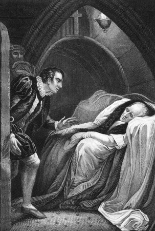 part i: Death of Mortimer, from Shakespeares Henry VI, Part I, Act II, Scene V on engraving from 1800s. Engraved by J.Rogers after a painting by J.Northcote and published by J.Tallis & Co.